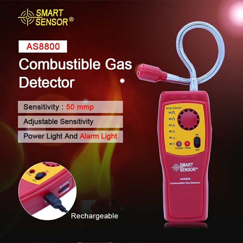 AS8800 Digital combustible gas analyzer hand-held port flammable gas Leak Detector with Sound Light Alarm+Battery