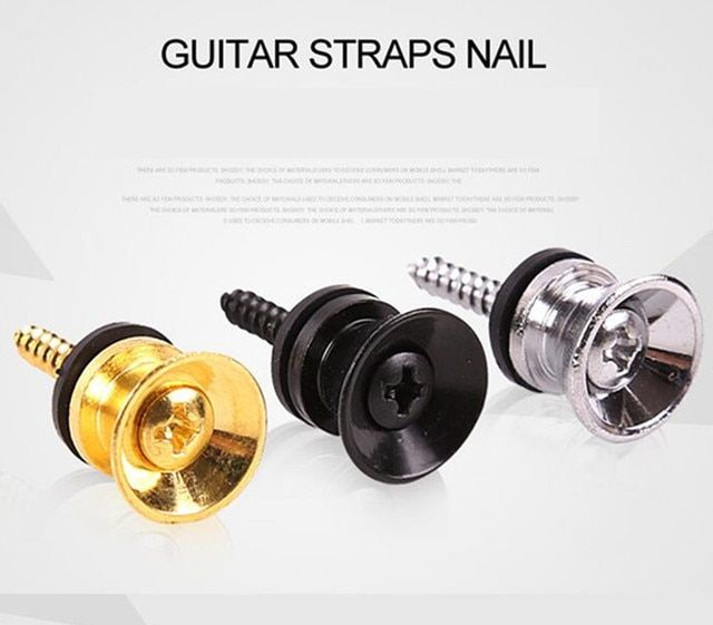 2Pcs Ukulele Classical Electric Bass Guitar Strap Lock Strap Lock Locking Pegs Pins Metal End Buttons
