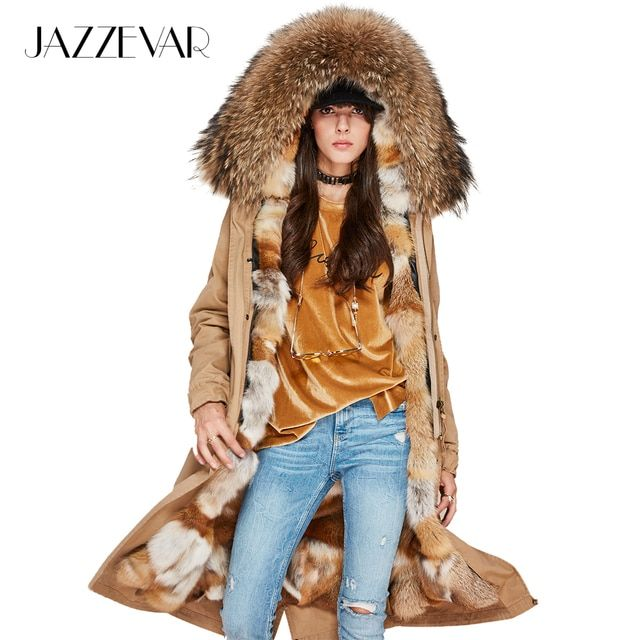 JAZZEVAR New Winter Fashion Woman Luxurious Real Fox fur lining X-Long Parka Large Raccoon fur Hooded Coat Military Jacket