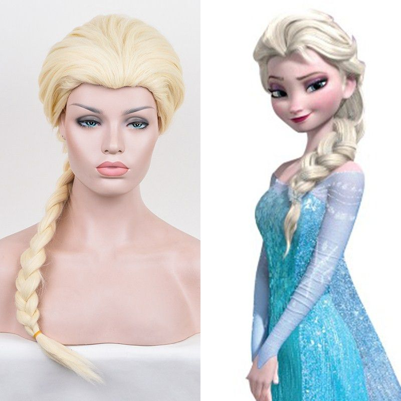 80cm Yellow Long Straight Anime Queen Elsa Cosplay Harajuku Women's Wigs Cheap Braided Synthetic Hair Women Blonde Wig For Adult