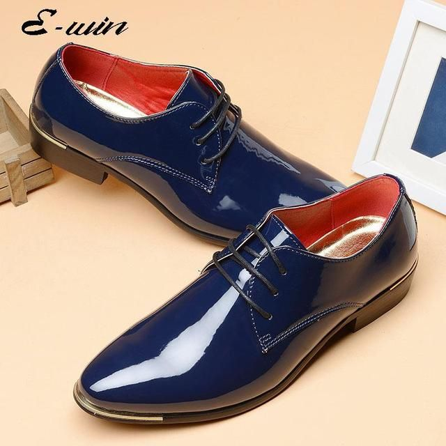 2016 Brand Design Men Patent Leather Dress Shoes Business Shoes of Men Plus Size 38-48 Pointed-toe Lace-up Wedding Shoes of Men