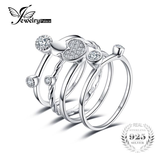 JewelryPalace Heart Love 4 Pcs Rope Band Stackable Ring Sets 925 Sterling Silver Jewelry For Women Wedding Fine Lovers Gift