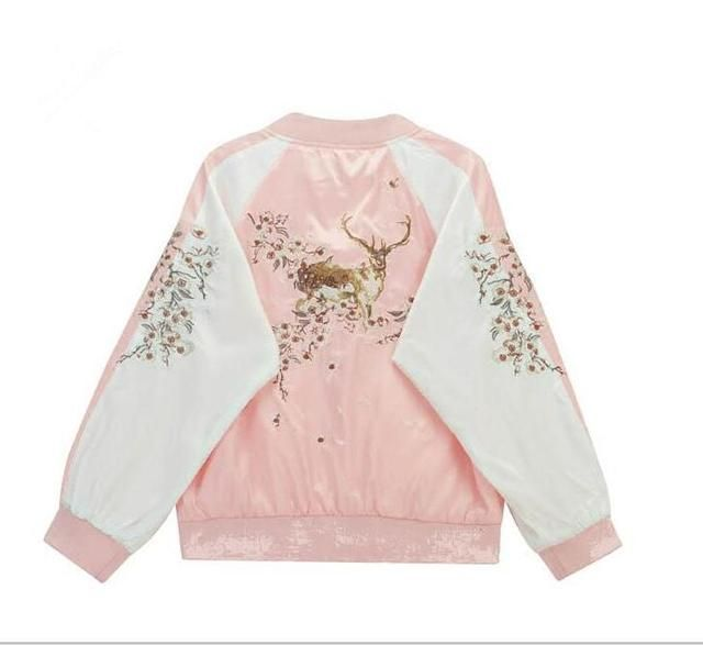 2016 Women's Harajuku wind sika deer embroidered short jacket Loose lovers