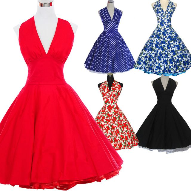 2016 Marilyn Monroe Style Women Polka Dot Dress 50s 60s Robe Vintage Retro Pinup Ball Gown Rockabilly Dress Vestidos Femininos