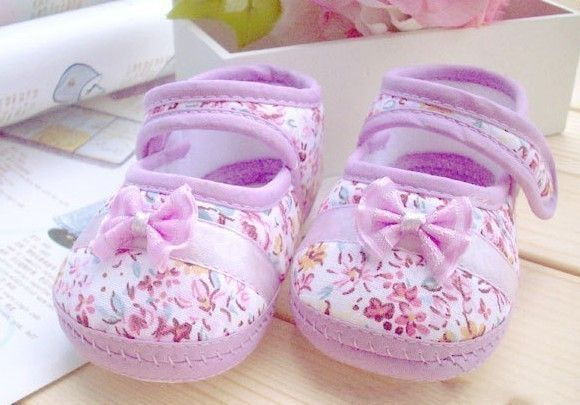 Baby Moccasins Girls Walking Shoes Toddler Prewalker Bowknot Crib Shoes Printed First Walkers