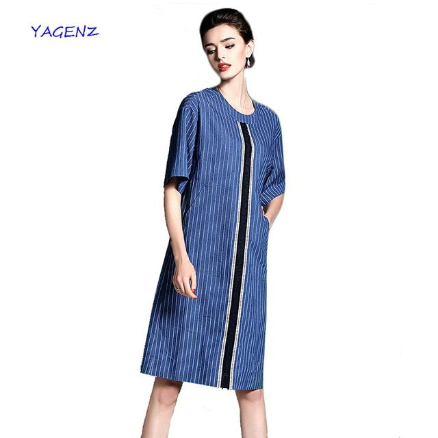 2017 Spring Summer Denim Dresses  stripe lattice Short-sleeved round neck new fashion Casual Loose elegant lady dress YAGENZ A54