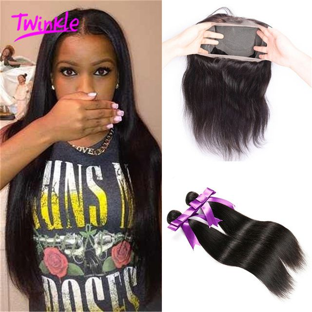 Peruvian 360 Lace Frontal With Bundles Peruvian Virgin Hair Straight 3Bundle Deals With Closure Human Hair Bundles Lace Frontal
