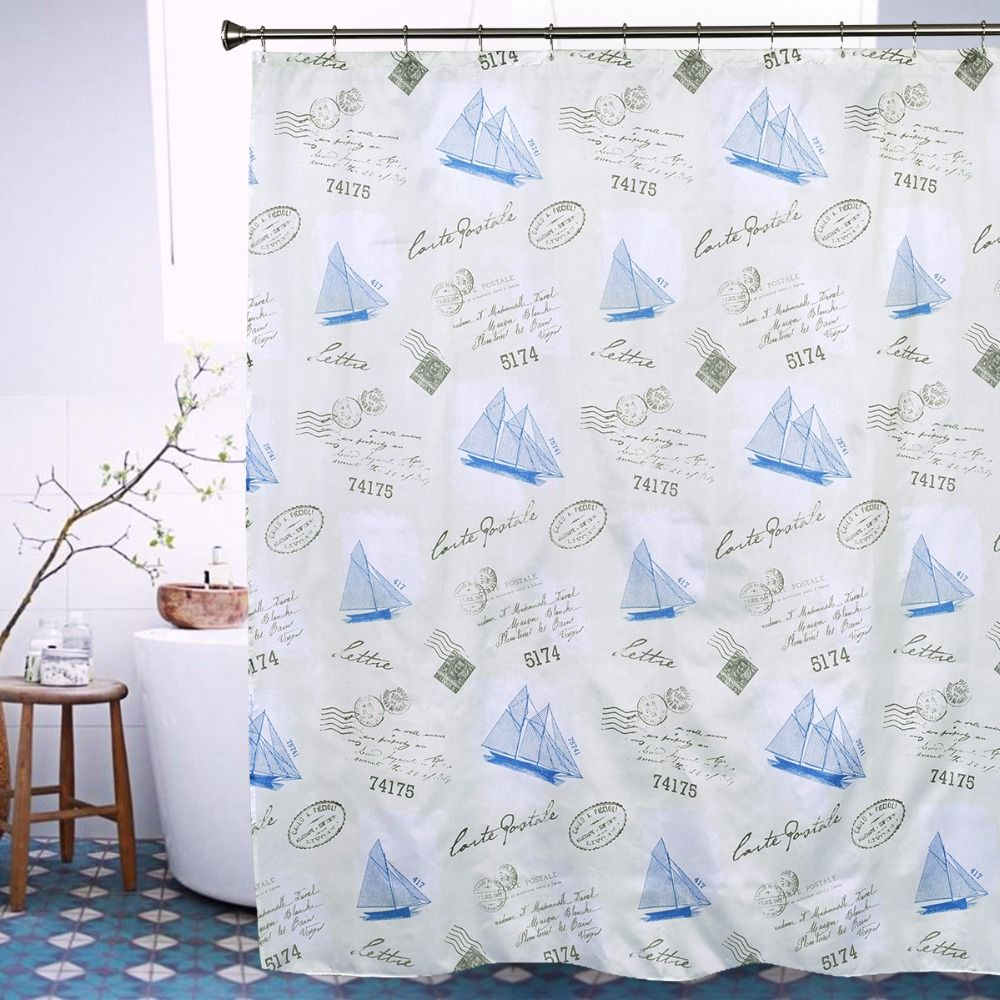 Sailing Ship Bath Curtain Waterproof Mildew Bathroom Curtain Europe Luxury Bathroom Decor Shower Curtain With Hooks 72X78inch