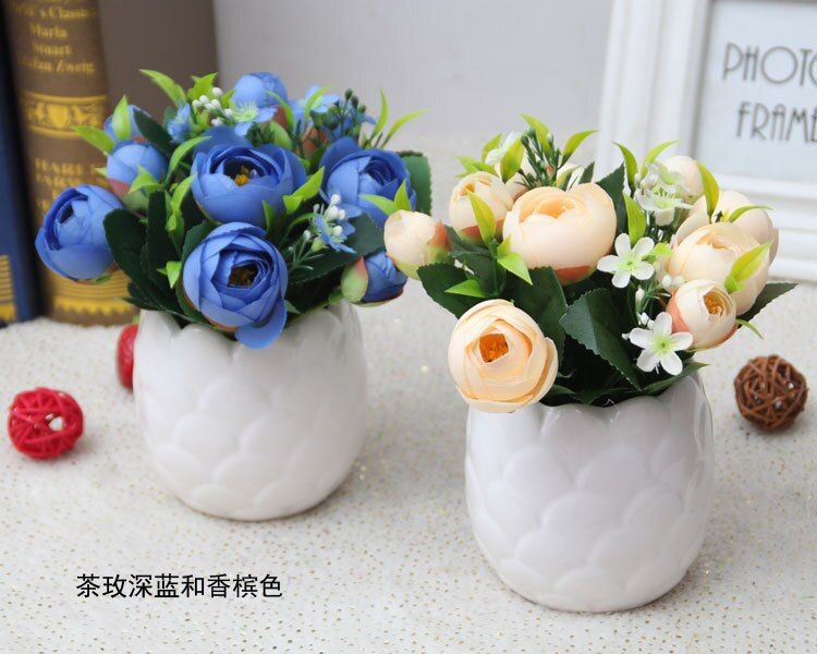NEW Cheap artificial flowers bonsai plants home decor gifts favors fake pot artificial roses table decoration Mother'day