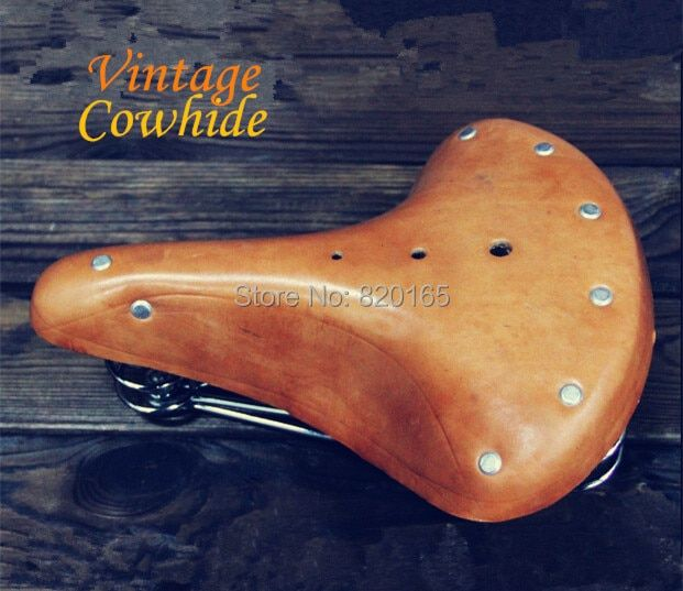 Bike Saddle Cowhide Leather Saddle Cycling Vintage Retro Riveted Saddle Seat Bike Seat Cover Bike Accessories Bicicleta Saddle