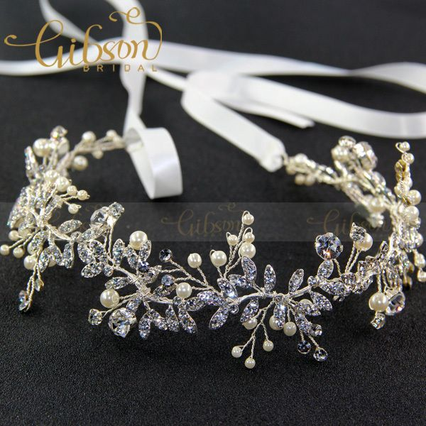 Gibsonbrial Handmade RhineStone Leaf Women Daily Hair Ornaments Wedding Hair Decoration Metal Hair Vines Bridal Headpieces