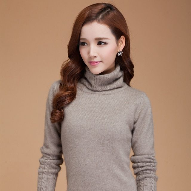 Solid color turtleneck 100% cashmere basic shirt women's long-sleeve autumn and winter design thickening pullover sweater