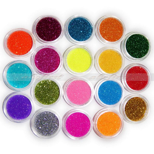 18 Colored/Pack Nail Art Gel Nail Glitter Glow Glossy Acrylic Powder For Nail Art Tips Decoration