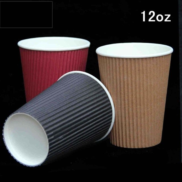 12oz colorful corrugated disposable party paper Cup With Lids Kraft coffee cups paper for Birthday Party clear Wedding Cups