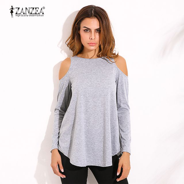 ZANZEA Autumn Elegant Women Blouse Blusas Tops 2017 Ladies Sexy Tunic Off Shoulder Long Sleeve Pullover Tops Casual Loose Shirts