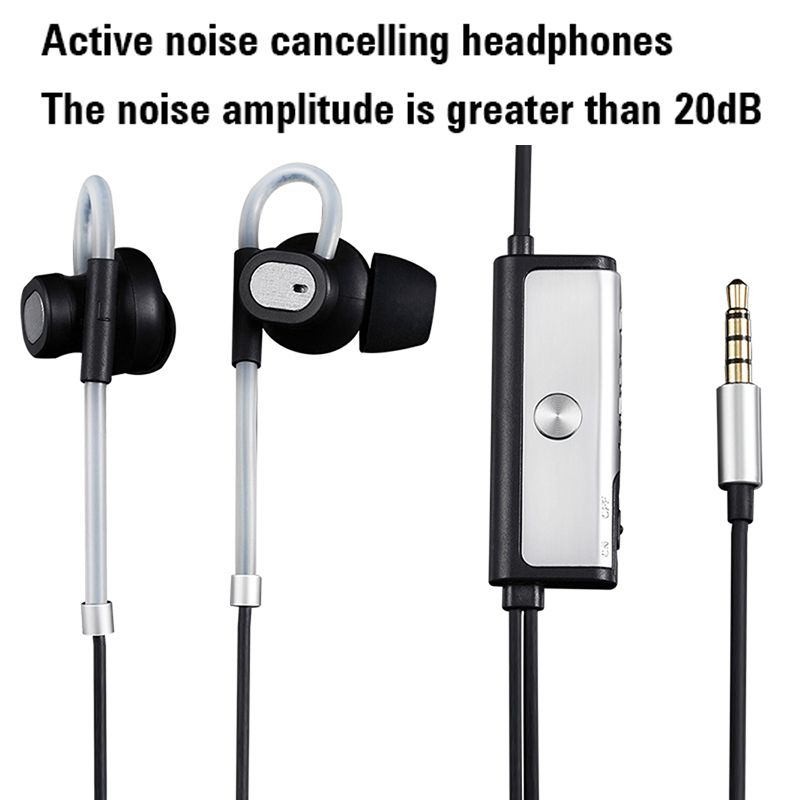 New In Ear Active Noise Cancelling Earphone Ear Hook Metal Stereo Hifi Music Headset with Microphone for Mobile Phone MP3 CD DVD