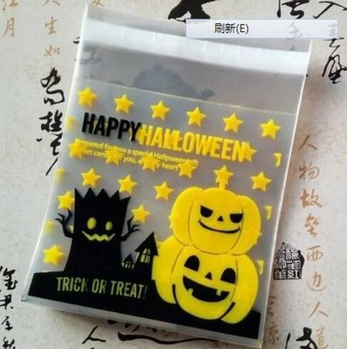 100 pcs/pack halloween theme Cookie packaging Colorful bottles self-adhesive plastic bags for biscuits snack baking package 10x1