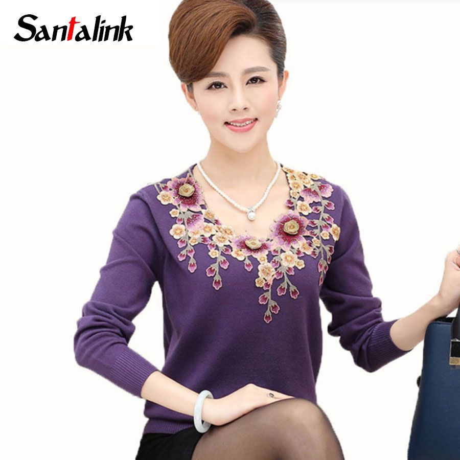 Santalink Autumn Women Floral Knitted Sweater Pullovers Long Sleeve Flower Plus Size Warm Top Mother Clothing