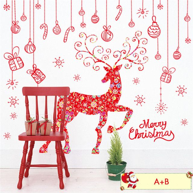 Merry Christmas and Deer PVC Window Stickers Removable Xmas Decal Wall Stickers Home Store Christmas Decoration Supplies