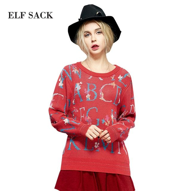 Elf SACK the spatiotemporal winter new arrival female casual rustic brief jacquard sweater