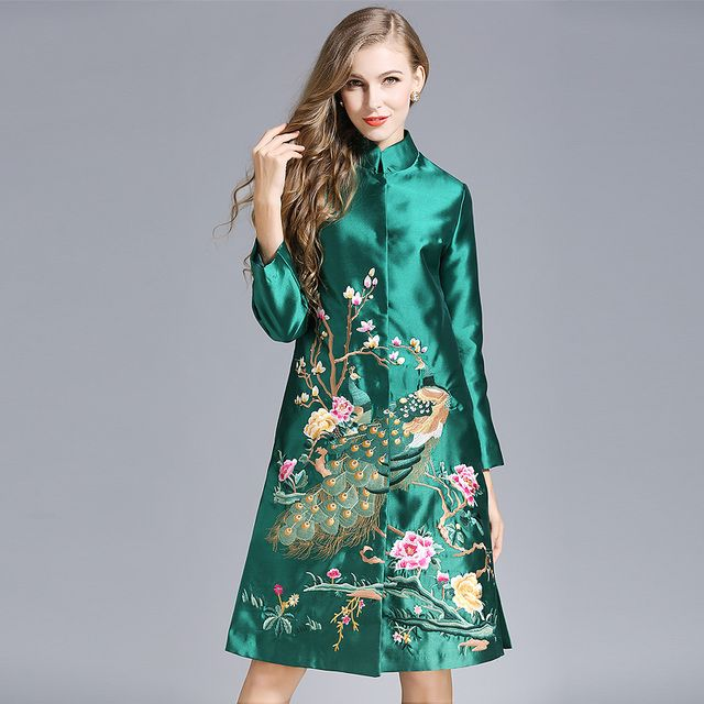 Fashion 2016 women autumn winter fashion flower bird embroidery long casual vintage work trench coat 71 outwear