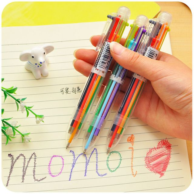 1 Pcs New Arrival Novelty Multicolor Ballpoint Pen Multifunction 6 In1 Colorful Stationery Creative School Supplies