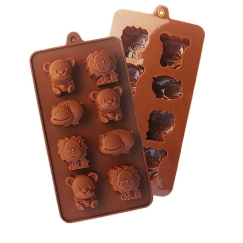 Little Bear Hippo Lion Shaped Chocolate Mold Food Grade Silicone Chocolate Mold Silicone Ice Trays Mould D503