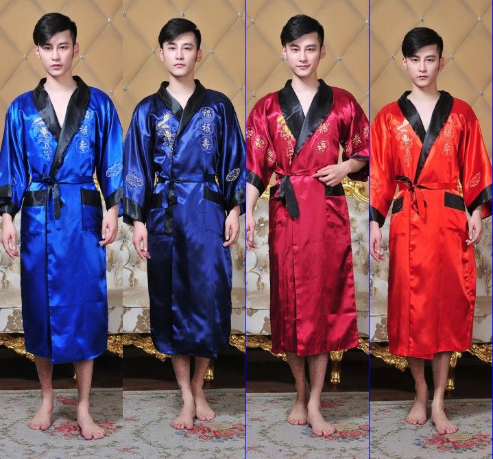 Public bathhouse Spa Chinese Robe Kimono Nightgown Dragon Sleepwear traditional chinese kimono dress men bathrobe pajamas