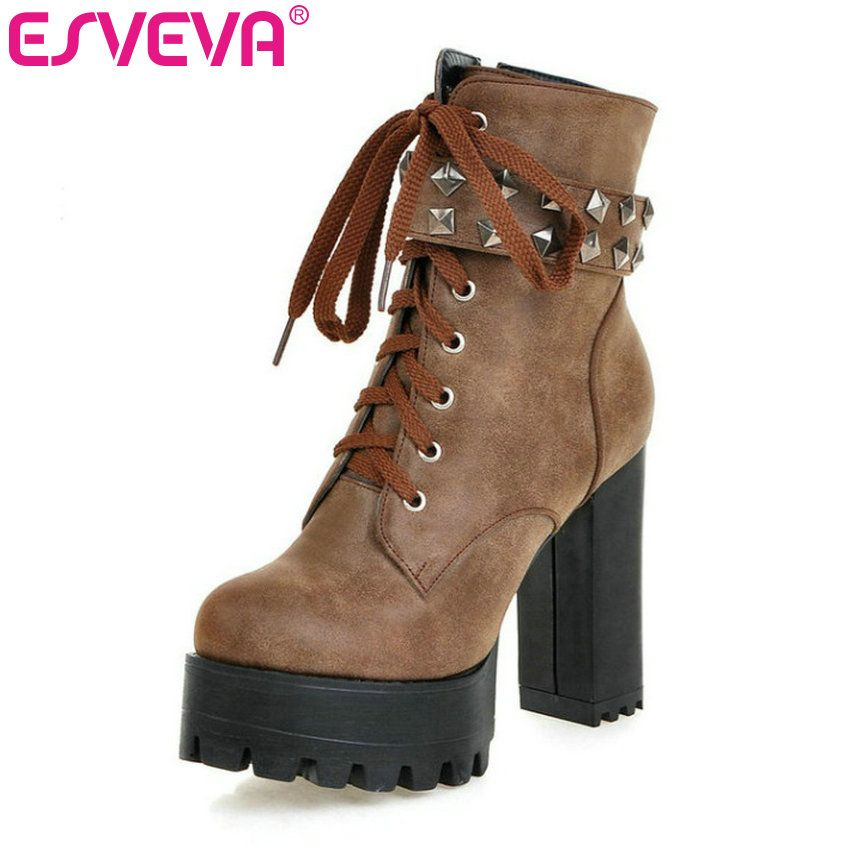 ESVEVA  Square High Heel Shoes Women Punk Motorcycle  Boots Lace-up Rivets Ankle Boots  Platform Ladies Fashion Boot Size 34-43