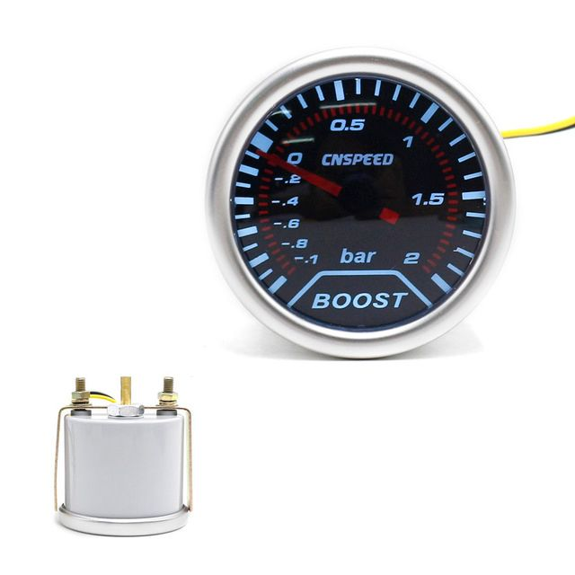 "CNSPEED Free shipping 2""(52mm) Smoke lens Car Turbo Boost gauge  (-1~2 Bar) boost meter /tachometer/car meter TT101225"