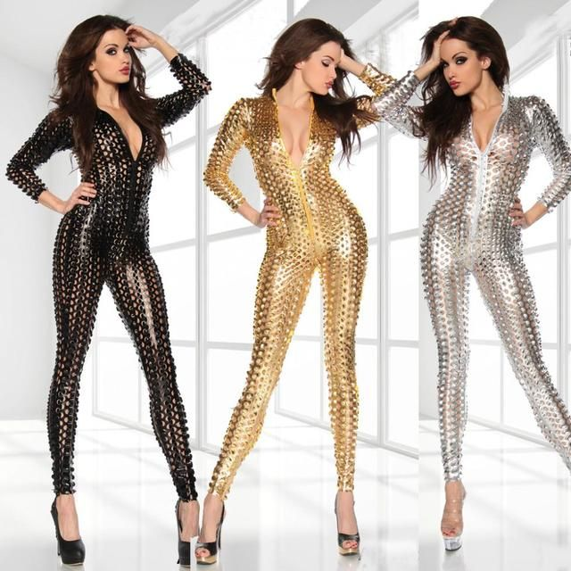 New Women  Sexy Metal Hole Faux Leather bodysuit Zipper Fornt  Bandage Jumpsuit white gold black Catsuit Overall 7117