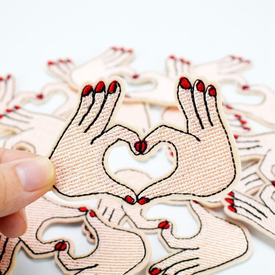 Diy Palm-shaped heart patches for clothing iron embroidered patch applique iron on patches sewing accessories badge on clothes