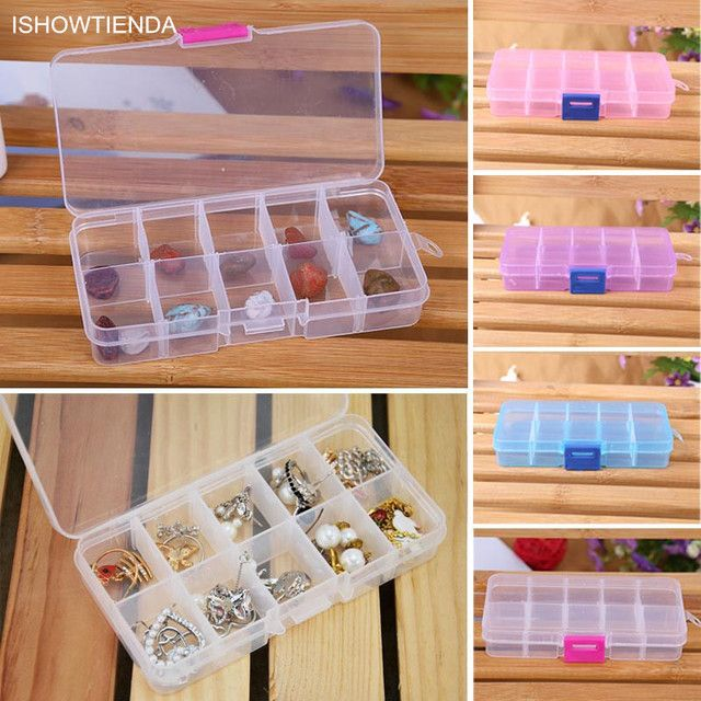 ISHOWTIENDA New 1PC 13*6.5*2 cm 10 Grids Adjustable Jewelry Beads Pills Nail Art Tips Home Organize Storage Plastic Box Case New