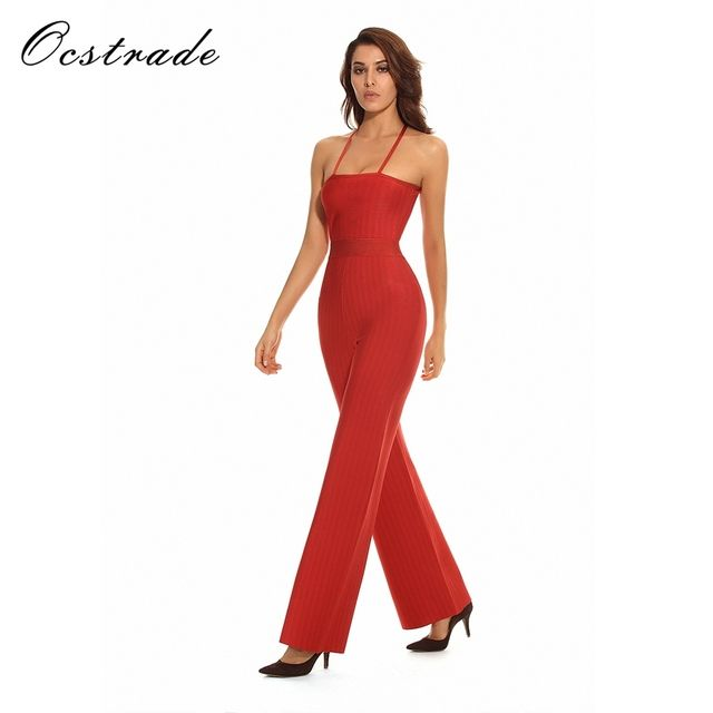 IN STOCK!RED STRAPPY JACQUARD BANDAGE JUMPSUIT!