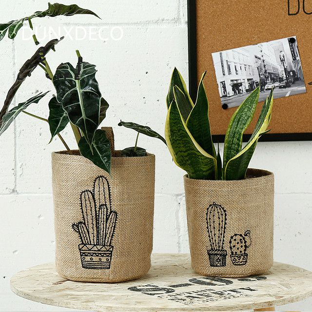 DUNXDECO 1PC Fresh Plant Cactus Linen Cotton Home Office Storage Multifunction Table Garden Organizer Waterproof Small Pot Hold