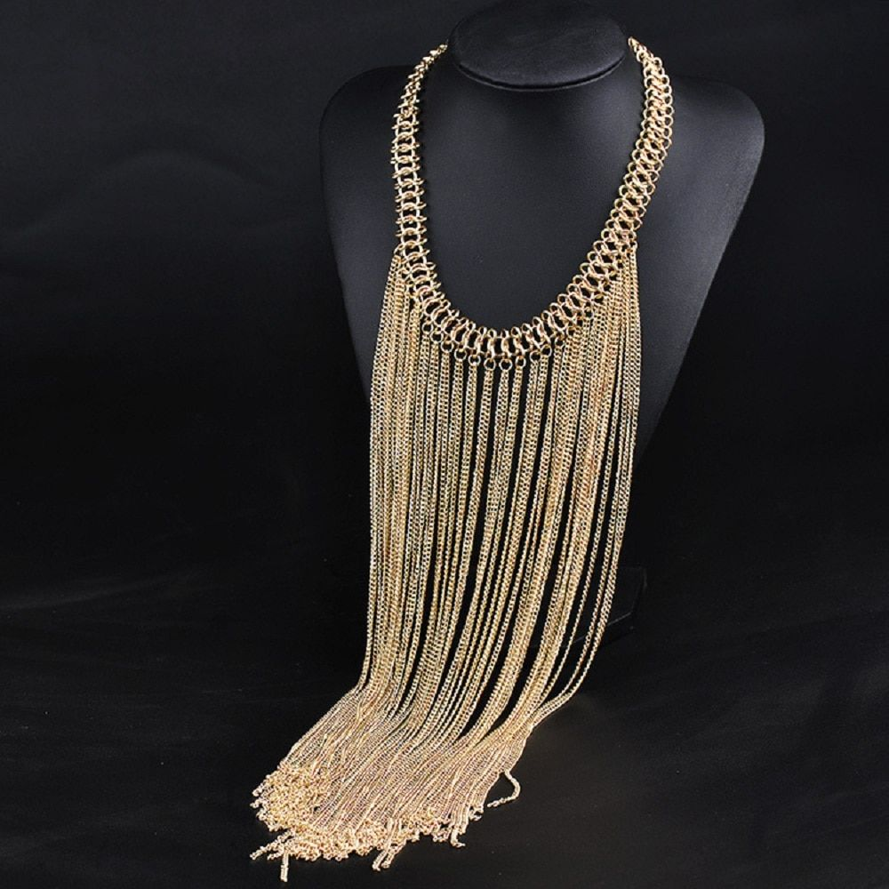 2016 Fashion jewelry wholesale choker necklace long Tassel necklaces & pendants bohemia gold chain necklace maxi Necklaces women