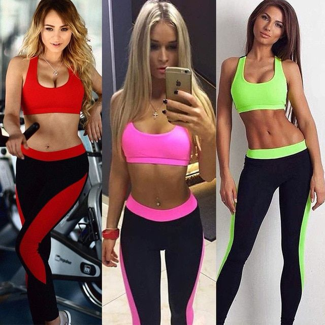 2016 new fashion high quality women casual fitness candy color cropped tops tanks and pants two pieces sets suits