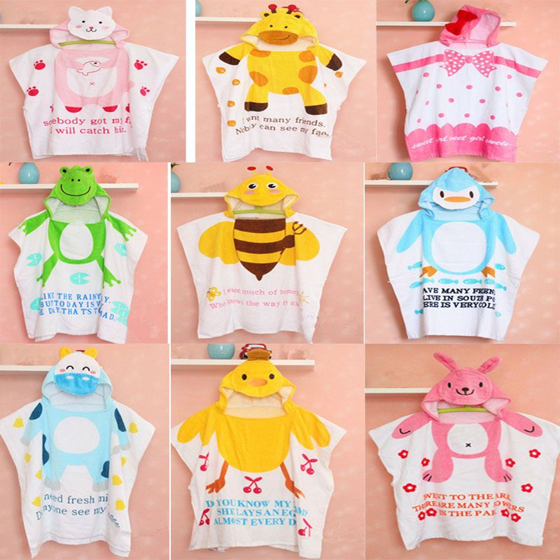 Hot sale 100%Cotton Baby Beach Gown Child Bathrobe Beach Towels Baby Cloak Cape Baby Bath Towel Child Bathrobes Cartoon Hooded Y