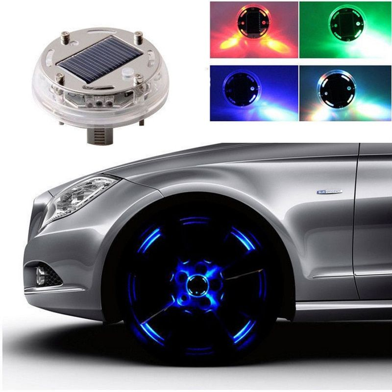 4PCS 4 Modes 12 LED Auto Car Styling Solar Energy Flash Bright Wheel Tire Rim Light Lamp Decoration Warning Light Free Shipping