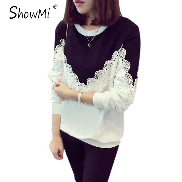 ShowMi Women Hoodies Sweatshirts 2017 Spring Autumn Thin White Grey Patchwork Crochet Long Sleeve Lace Hoodies Moletom feminino