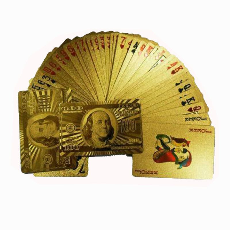 One Deck Gold Foil Poker US Dollar Style Plastic Poker Playing Cards Waterproof Cards Good Price