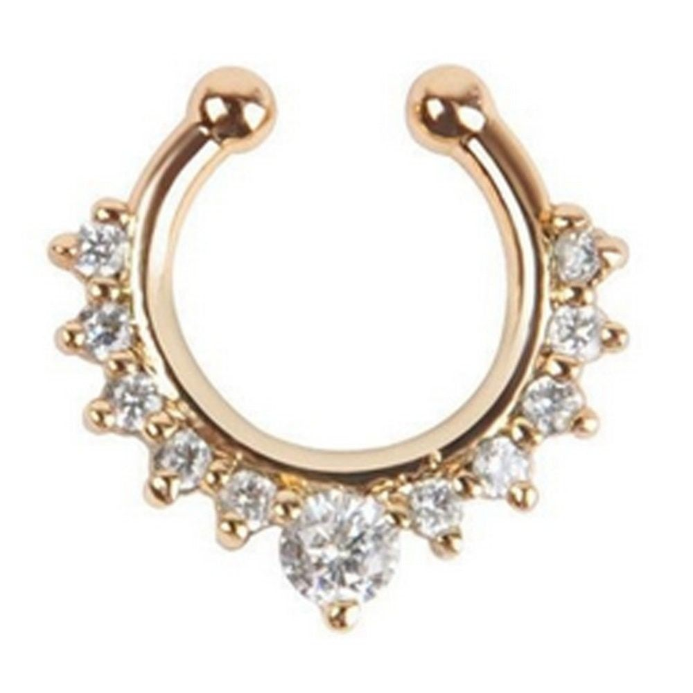 Titanium Crystal Fake Nose Ring Septum Piercing Hanger Clip On Body Jewelry Nose Hoop Rings BDY0004
