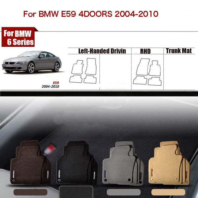 "4pcs Custom Made 1/2"" Thickness Solid Nylon Interior Odorless Floor Carpet Mats Cover Fitted For BMW 6 Series E59"