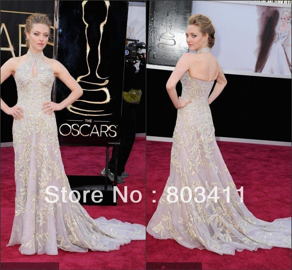 Freeshipping New Gorgeous Trumpet Halter Gown Appliques 85th Oscar Awards Celebrity Dress