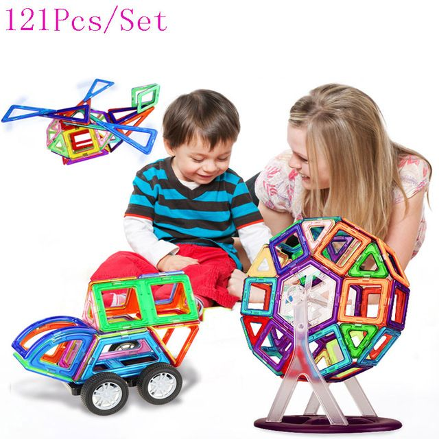 121PCS Mini Magnetic Designer Construction Enlighten Assembly Building Blocks Toys Kids Educational DIY Plastic Technic Bricks