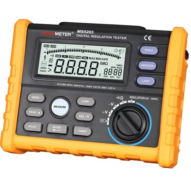 High Precision MS5203 Digital Insulation Resistance Meter Tester Multimeter Megohm Meter 0.01-10G ohm HV meter 50V-1000V output