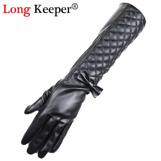 Luxury Sexy Ladies Leather Gloves Full Finger Bowknot Gloves Women Opera Long Sleeves Winter Black Glove 42cm Length M202