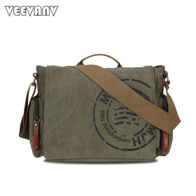 2017 New Vintage Men's Messenger Bags Canvas Shoulder Bags Fashion Men Business Postman Travel Crossbody Bags Printing Briefcase