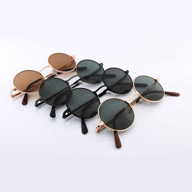 Newest Fashion Female Male Round Black Retro Sunglasses For Women Men Brand Design Pixel Gold Beauty Vintage Circle Sun Glasses