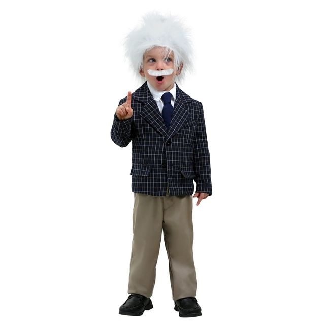 Adorable Whacky Scientist Albert Einstein Toddler Historical Figures Cosplay Costume Complete With Wig And Mustache Size 2T